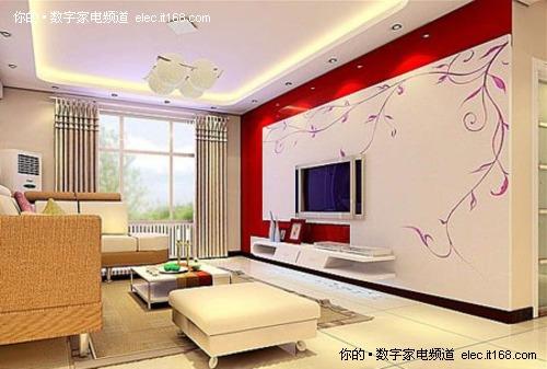 提醒用户要根据客厅及电视的尺寸来决定背景墙的大小