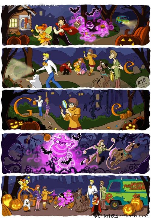 谷歌LOGO连环画:史酷比祝万圣节快乐