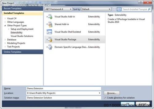 创建Visual Studio Package项目
