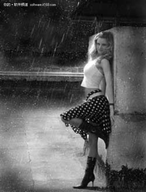 photoshop给黑白人物图片加上雨夜效果