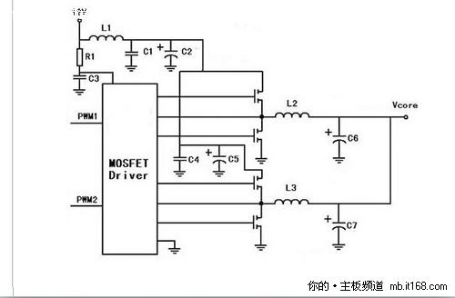 目前主板都是由电容+电感+mos管组成一个独立的单相供电电路,这样