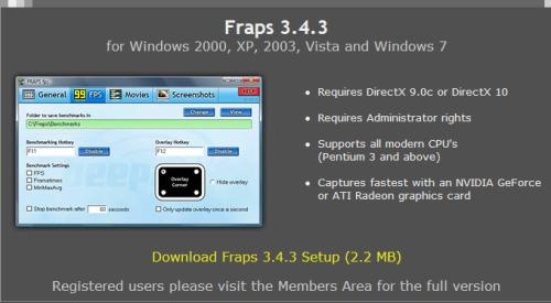 修正单核心崩溃问题 Fraps更新到3.4.3