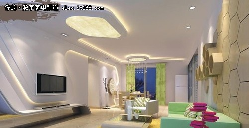 现代简约风格客厅造型天花板九-现代简约风格