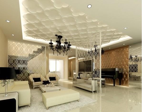 【圖】現代簡約風格 客廳天花板裝修效果圖賞 - 數字