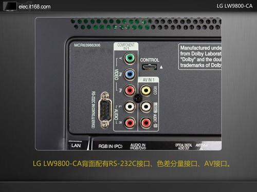 日本a片c_lg lw9800-ca背面配有rs-232c接口,色差分量接口,av接口.