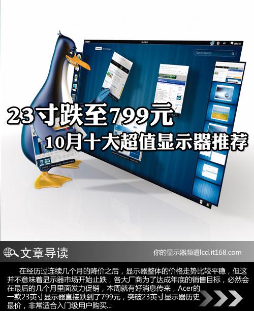 23寸跌至799元 10月十大超值显示器推荐