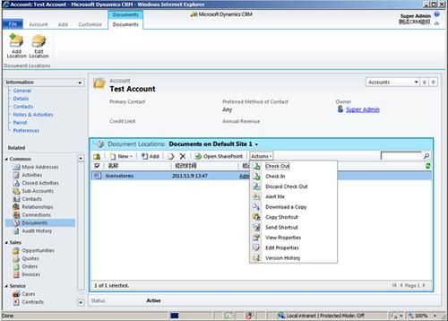 Dynamics CRM:利用SharePoint存放文档