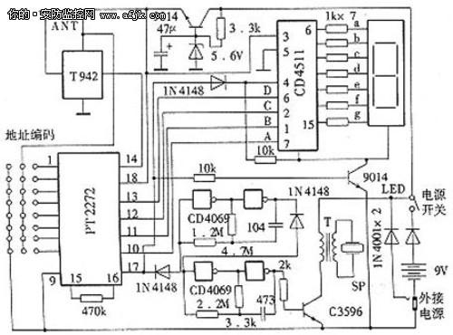 图1 门窗传感检测自动转发器电路   图2 接收解码数显报警器电路