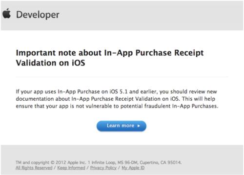 苹果表示iOS6将解决应用内购物严重漏洞