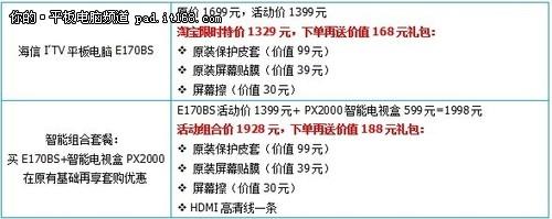 海信E170BS直降300再送超值原装礼包