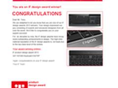 雷柏E9270P键盘获2013德国IF工业设计奖