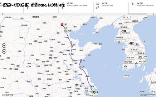 Win8开始屏幕中地图应用的路线功能