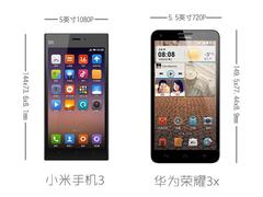 差价300大洋 小米手机3对比华为荣耀3x