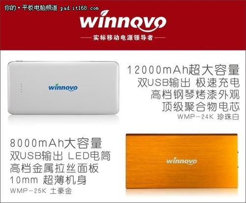 Winnovo推出两款大容量移动电源新品