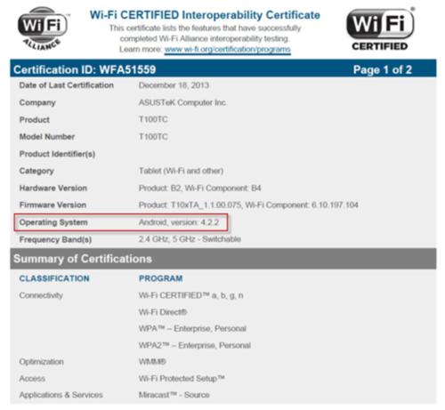 爆料:华硕T100C现身Wi-Fi认证网站