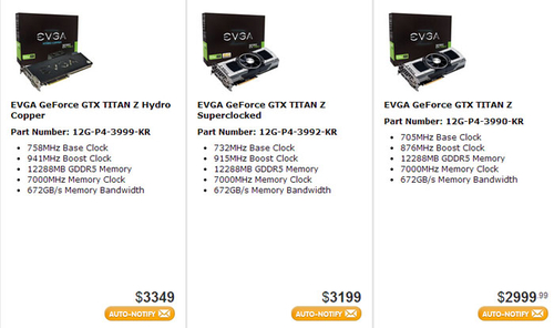 TITAN Z性能还能彪 EVGA有超频和水冷版