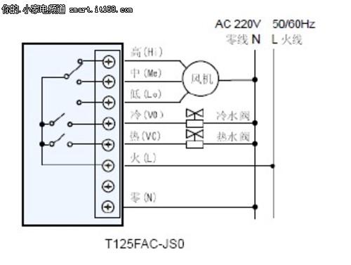 (美国标准120v)转换成24vac控制电压,通过r线将24+电压传送到温控器