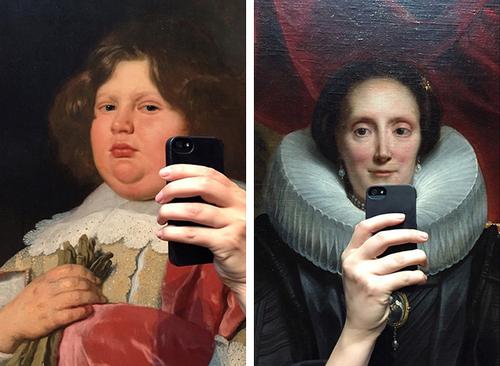 """透视错位拍照 油画们有趣的""""自拍"""""""