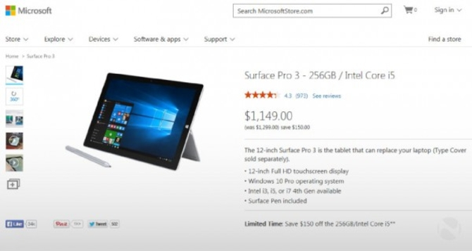 微软开始发售预装Win 10的Surface新品