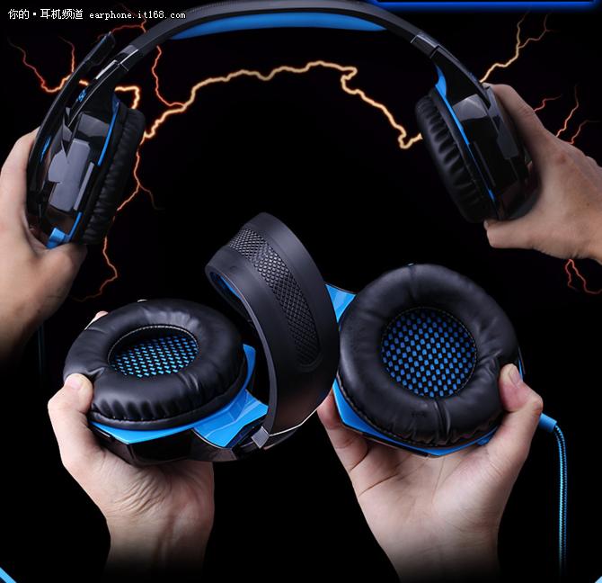 因卓G2000黑蓝色电脑游戏耳机仅售69元