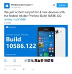Windows 10Mobile Build 10586.122发布