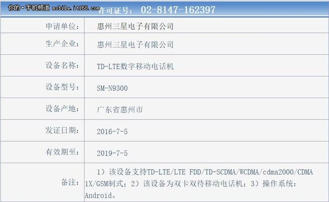 配置强过海外 三星Note7国行获入网许可