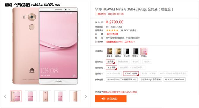 华为Mate 8推出玫瑰金版 售价2799元起
