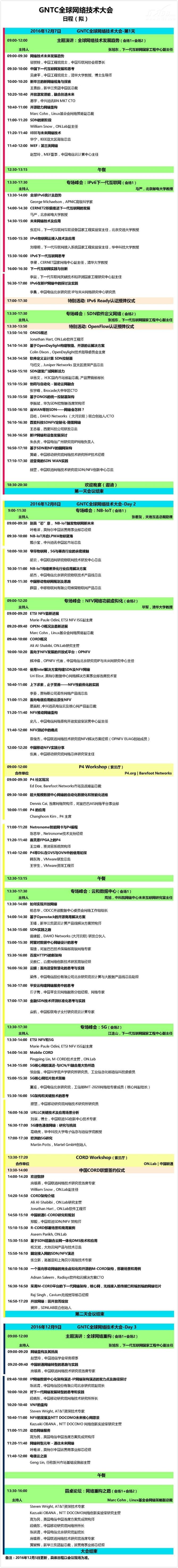 全球网络技术大会完整日程首曝光