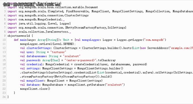 用Scala实现MongoDB连接