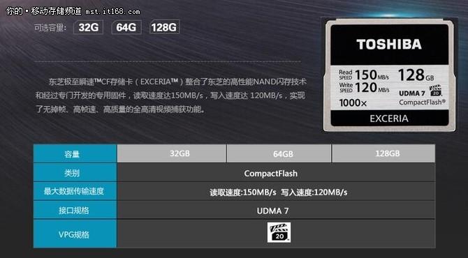 高清画质畅存无限 东芝 1000X CF存储卡