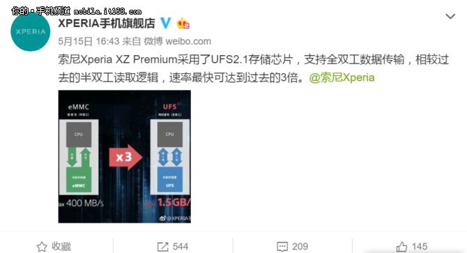 索尼官方确认:Xperia XZP用UFS2.1闪存