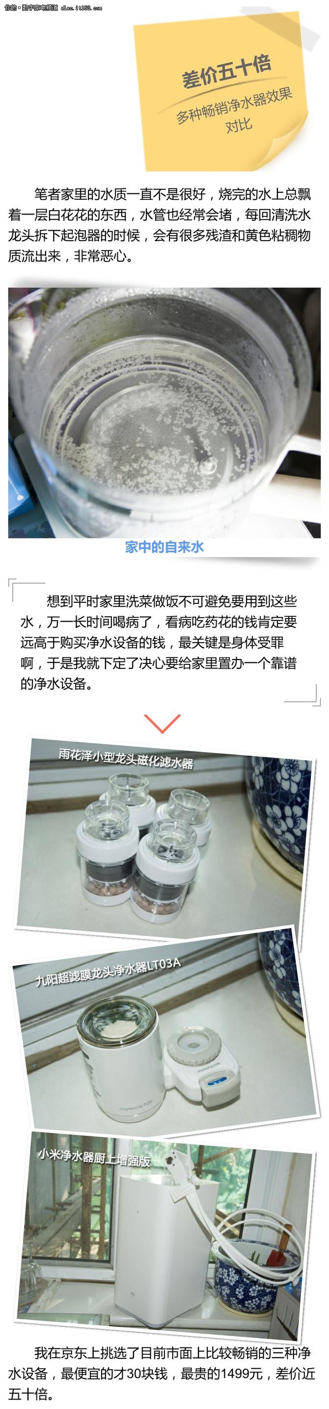 差价五十倍 多种畅销净水器效果对比