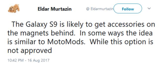 传三星S9背部将提供磁点 或支持模块化