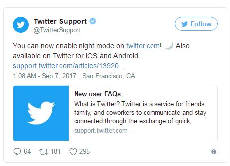 Twitter正式向桌面用户推出夜间模式