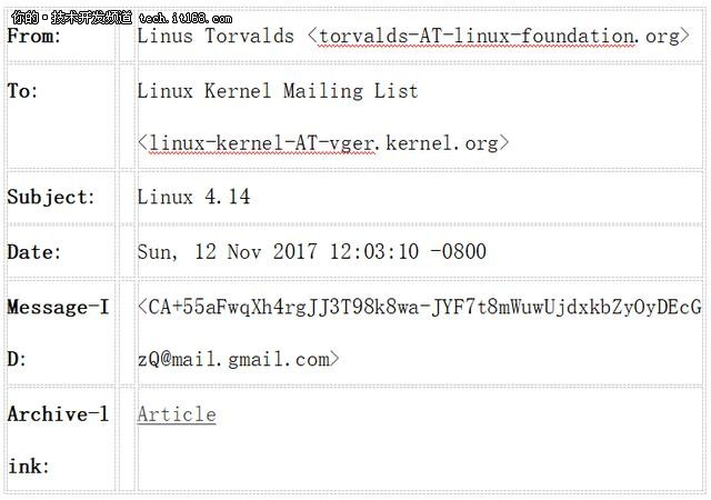 一封发给Linux成员内部信:关于Linux 4.14