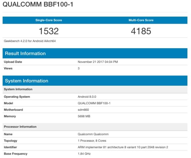 黑莓新机现身GeekBench:搭载骁龙660芯片