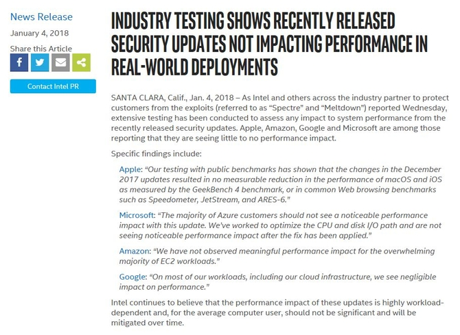业界大佬声援Intel 漏洞更新未降低性能