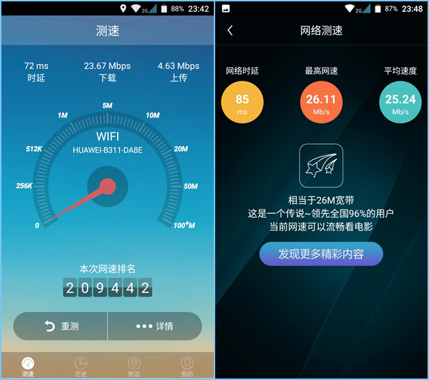 华为4G路由器 2网速测试
