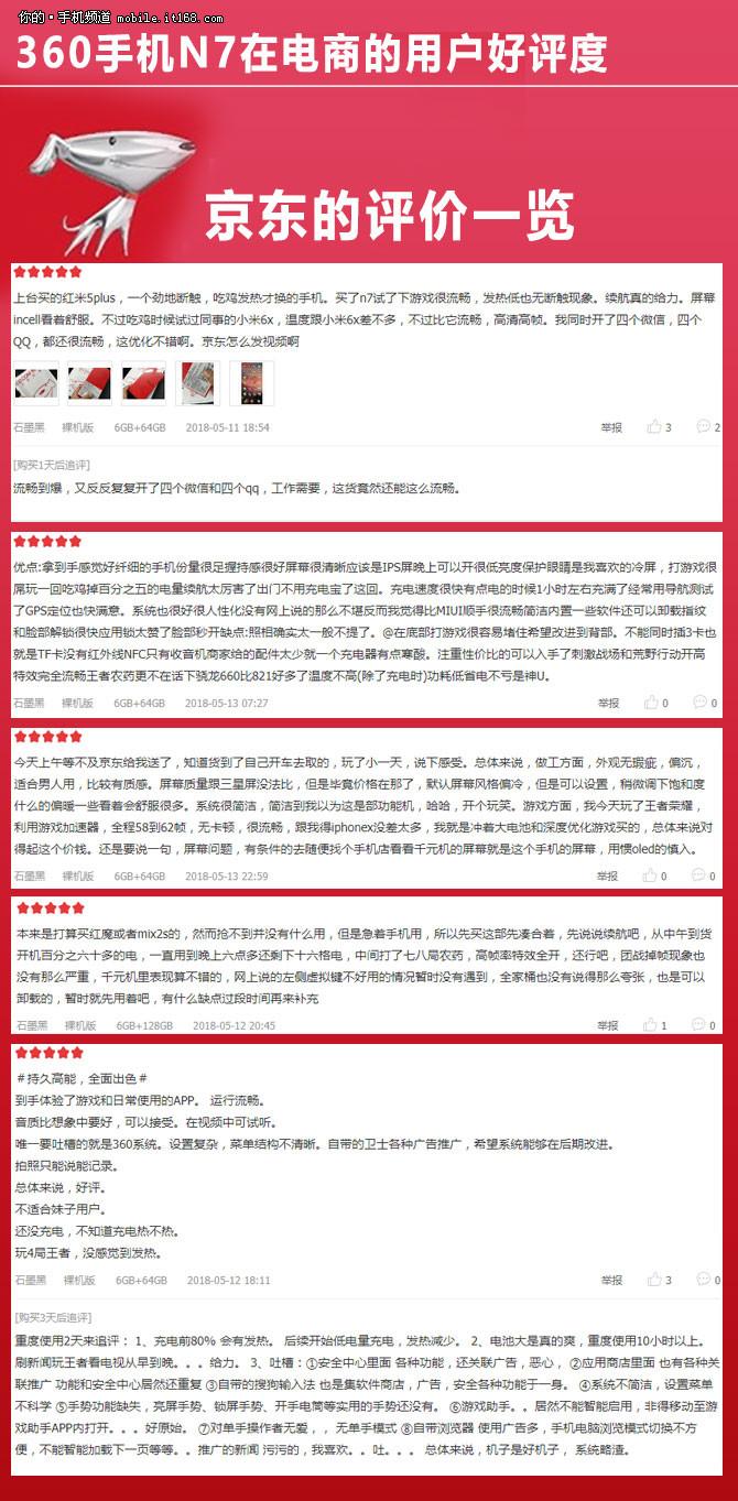 360手机N7扒一扒网络晒单:京东98%高好评率