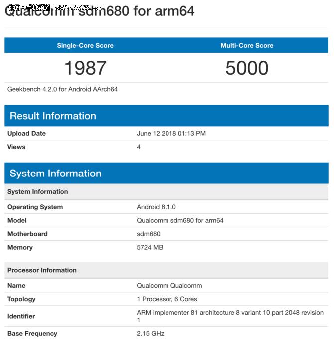 高通骁龙680跑分现身GeekBench 采用6核设计