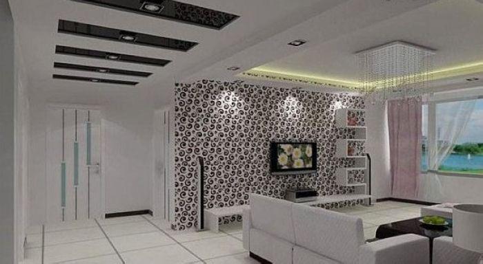 电视墙效果图,现代简约风格客厅电视背景墙设计装饰