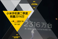 雷军公布小米手机第二季度销量:2316万 小米一周资讯汇总