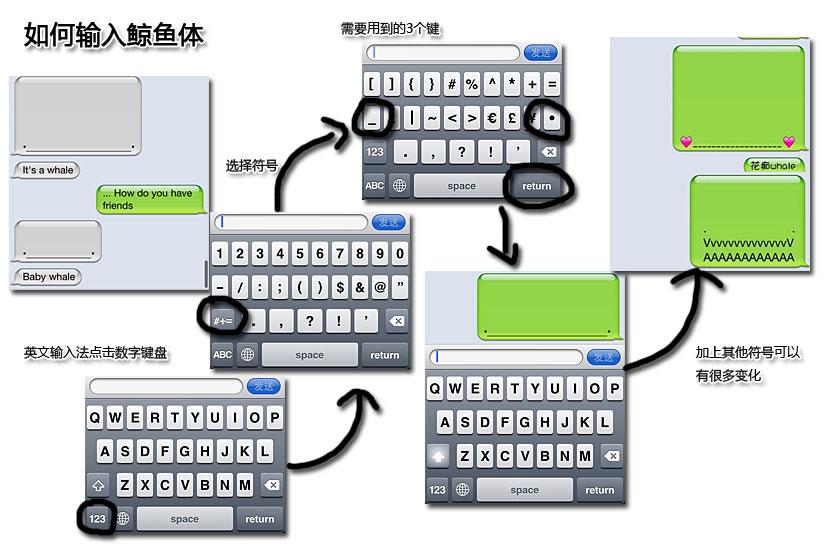超可爱鲸鱼体 教你开启iphone表情符号图片