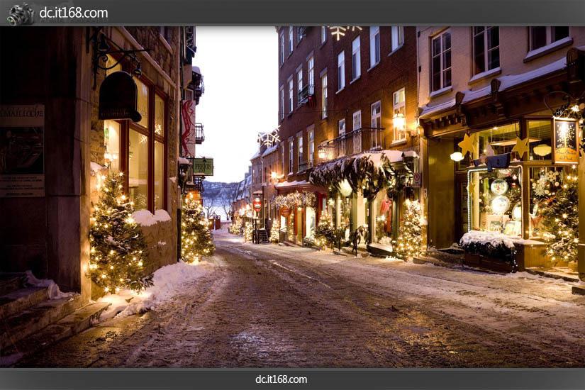 夜街道雪景矢量图