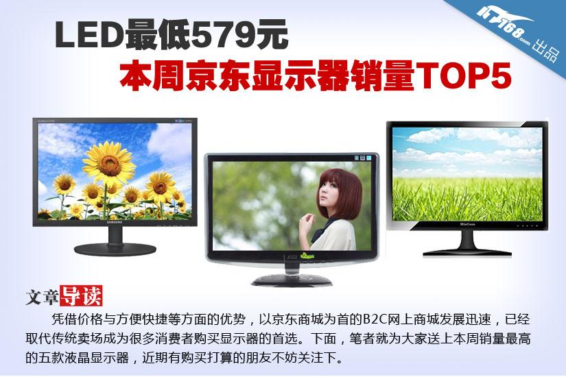 LED最低579元 本周京东显示器销量TOP5