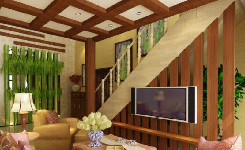 中式風格; 躍層-120平米-客廳裝修效果圖; 水藍花園-躍層-120㎡-客廳