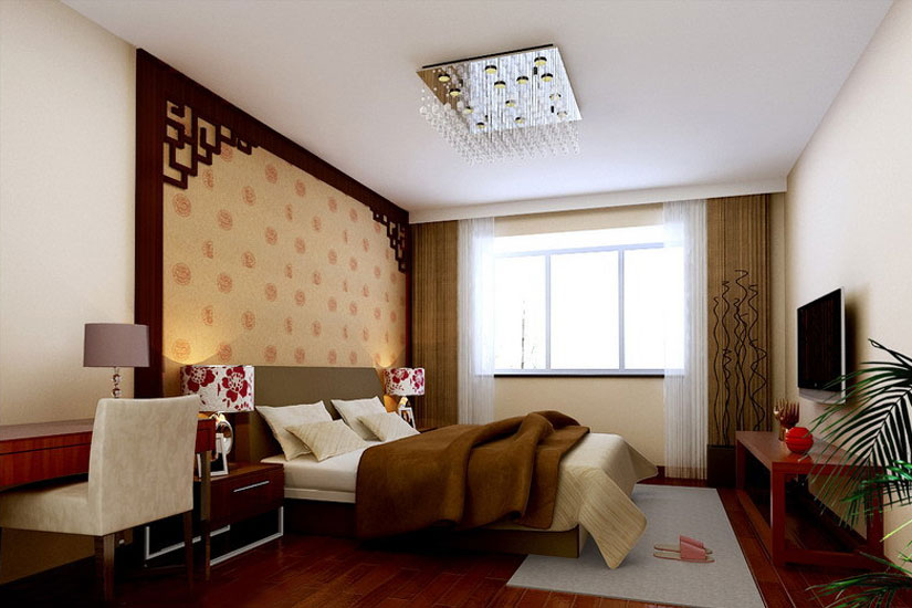 新中式风格装修效果图--卧室
