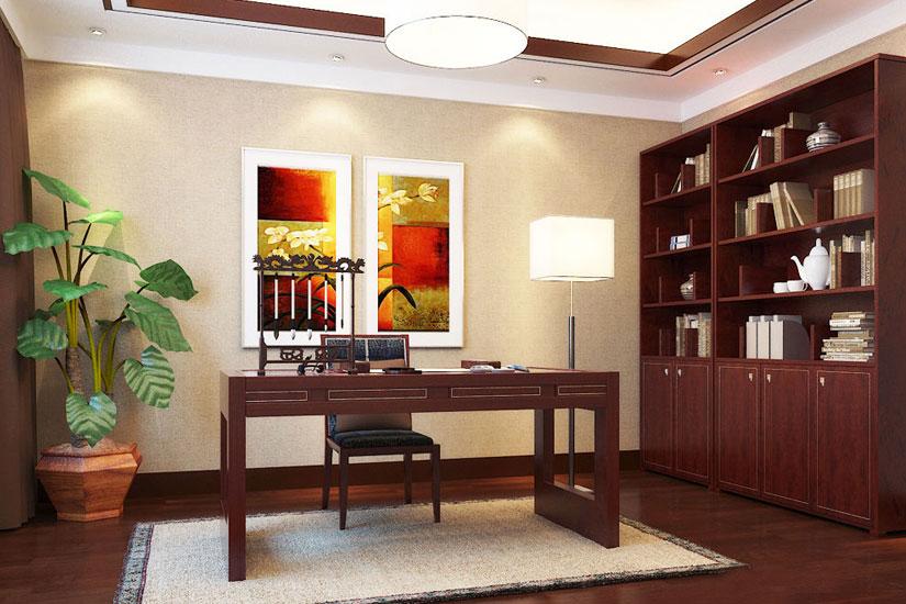 新中式風格裝修效果圖--書房