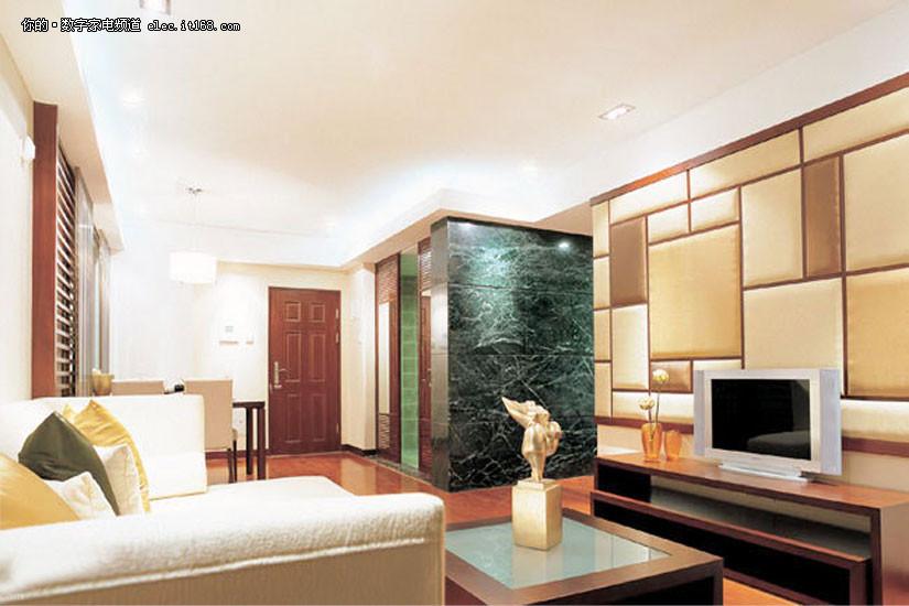 茶色玻璃边框电视墙