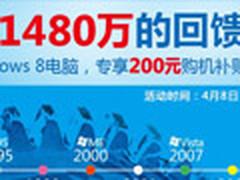 苏宁购带WIN8电脑 最高可返300元补贴券